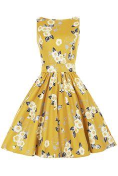 Yellow Floral Tea Dress - Elsie's Attic