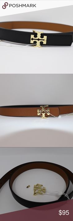Tory Burch reversible leather logo belt Black on one side, Tigers Eye in other. Tory Burch Accessories Belts