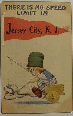 1910s JERSEY CITY Vintage Postcard HUMOR Funny Kitsch Cartoon Illustration by Christian Montone, via Flickr
