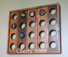 Made to order Reclaimed Wood Hockey Puck Display by GroveWoods