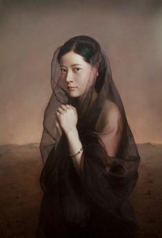 black - woman - figurative painting - Wang Neng Jun.