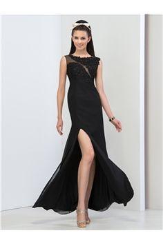 Sheath/Column Sequins Split-Front Rectangle Prom Sexy & Hot Floor-Length Black Dress