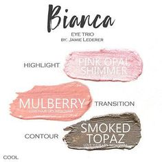Bianca Eye Trio uses three SeneGence ShadowSense : Pink Opal Shimmer, Mulberry and Smoked Topaz. These creme to powder eyeshadows will last ALL DAY on your eye. #shadowsense #trio #shadowsensetrio #eyeshadow #bianca