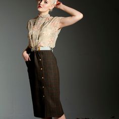 CLEARANCE - Pencil Skirt - 'Pine Needles and Pinwheels' skirt in Dark Check - Ginny & Jude Designs