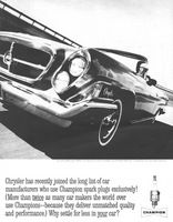 Champion Spark Plugs Chrysler 300 H 1962 Ad Picture