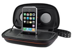 iHome HDP29 Harley-Davidson Portable Speaker Case for iPod and iPhone (Black). Supports most iPhone and iPod models with Universal Dock Connector. Tough, splash-resistant zippered speaker case with Harley Davidson logo. Plays and charges iPhone and docking iPod models. Operates on included AC adaptor or 4AA batteries. Auxiliary input for external audio devices.