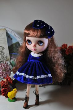 Hey, I found this really awesome Etsy listing at https://www.etsy.com/uk/listing/290364637/blythe-navy-blue-velvet-white-lace-lace