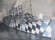 Razzle dazzle camouflage ship painting by Duncan Hannah . Dazzle Camouflage, Camouflage Patterns, Rms Mauretania, British Marine, Ship Paintings, Psy Art, Razzle Dazzle, Ship Art, Royal Navy