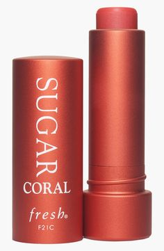 coral-tinted lip treatment
