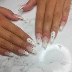 Classic french with swarovski #shape #nude #nails #nailart #nailinspo #nails2inspire #naglar #nailie #pink #pinknails #longnails #manicure #naglargävle #gel #gelnails #shape #melformakeup #thenaillife_ #rednails #hudabeauty #thenaillife_ #melformakeup #glitter #glitternails #coffinshape