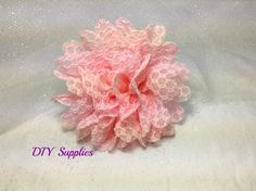 Large pink lace flower - diy supplies - fabric flowers - wholesale flowers - hair bow supplies - flower supplies