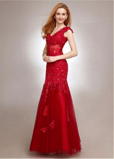 Red Prom Dresses 2017 Long Mermaid Evening Dress V Neck Beaded Applique Tulle Party Dress & Wedding > Occasion Dresses > Evening Dresses Homecoming Dresses Long, Prom Dresses 2017, Sexy Wedding Dresses, Cheap Wedding Dress, Ball Dresses, Ball Gowns, Formal Dresses, Bridal Dresses Online, Party Dresses Online