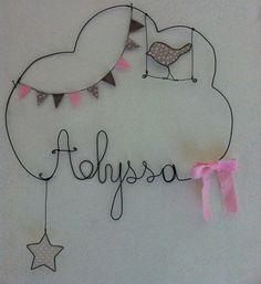 PRENOM FIL DE FER FANIONS ALYSSA : Décoration pour enfants par plume-de-fee