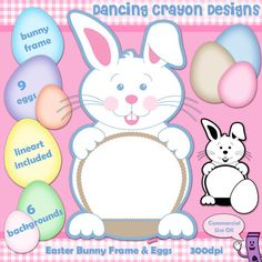 Clipart: Easter Bunny Frame, Eggs, and Background Clip Art Set. see more at  http://tpt-fonts4teachers.blogspot.co.il/