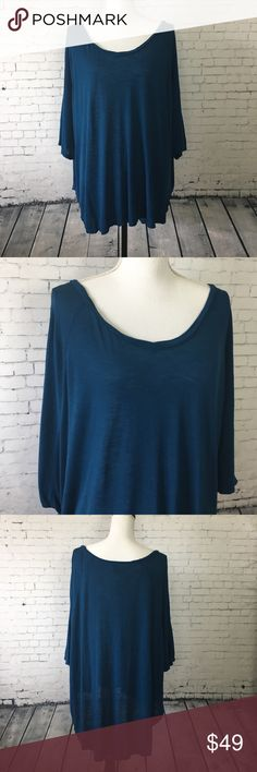 LF Emma & Sam Dolman Top Teal dolman style top with hi lo hem and relaxed silhouette. 100% rayon. Size L. New with tag. LF  Tops Blouses