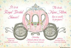 Celebrate your bride-to-be's Prince Charming with a royal fairytale Cinderella bridal shower invitation! A custom weathered damask pattern borders your