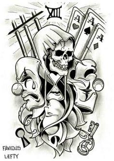 skulls Card Tattoo Designs, Clock Tattoo Design, Skull Tattoo Design, Tattoo Design Drawings, Skull Tattoos, Tattoo Sketches, Body Art Tattoos, Badass Drawings, Art Drawings Sketches Simple