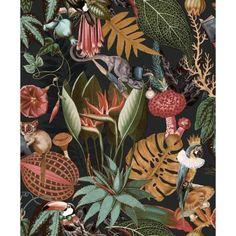 Tropical Wallpaper, Botanical Wallpaper, Colorful Wallpaper, Botanical Prints, Multicoloured Wallpaper, Wildlife Wallpaper, Animal Print Wallpaper, Book Wallpaper, Wallpaper Ideas