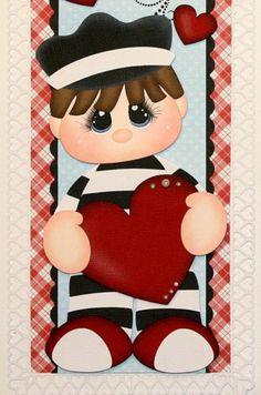 ELITE4U PMBY JULIE Valentine Child border 4 scrapbook pages album paper piecing