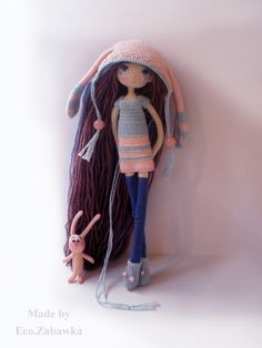 Doll and bunny ☆ Kawaii Crochet, Cute Crochet, Beautiful Crochet, Crochet Baby, Knit Crochet, Knitted Dolls, Crochet Dolls, Amigurumi Doll, Amigurumi Patterns