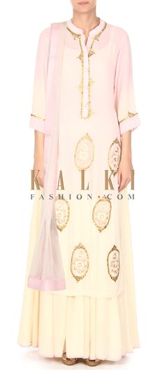 Buy this Cream and green suit adorn in resham and sequin butti only on Kalki