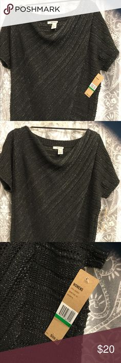 Beautiful dark grey knit pullover Item is a beautiful size large dark grey knit sweater pullover.  It has silver threads running throughout that gives it a beautiful sparkle! DKNY JEANS Sweaters Crew & Scoop Necks