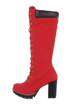 Dámske červené čižmy na hrubom vysokom opätku so šnúrovaním a bočným zapínaním na zips. Čižmy majú traktorkovú podrážku. Heels, Boots, Fashion, Crotch Boots, Moda, Heeled Boots, Shoes Heels, Shoe Boot, Fasion