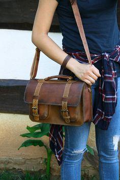 Handmade Aged Leather Messenger Bag & Crossbody Bag. Brown Handmade by Transylvanian Monk