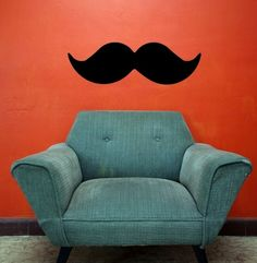 Mustache wall Etsy van: http://www.etsy.com/listing/61416443/30x10-mustache-funny-vinyl-decor-wall