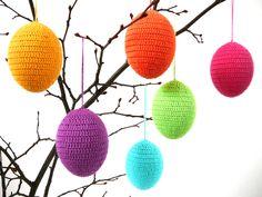 Crochet Easter eggs ornaments,