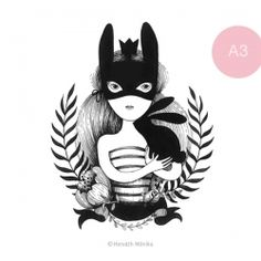 Álarcos lány - A3 Easter Illustration, Lany, My Works, Rooster, Batman, Superhero, Blog, Animals, Fictional Characters
