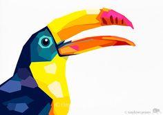 Toucan imprimé géométrique illustration par tinykiwiprints sur Etsy, $10.99