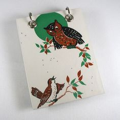 Large Refillable Recycled Notepad  The Owl and by RagAndBoneDesign, $11.00