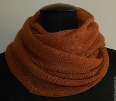 Купить Снуд рыже-коричневый - коричневый, однотонный, снуд, шарф, снуд вязаный, снуд купить