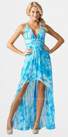 Hi low maxi blue dress