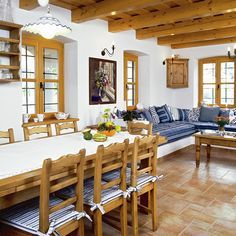 Note colour of beams - too yellow - wrong colour Gray Painted Furniture, Muebles Living, Rustic Restaurant, Spanish Style Homes, Home Trends, Cottage Homes, Building A House, Outdoor Furniture Sets, House Plans