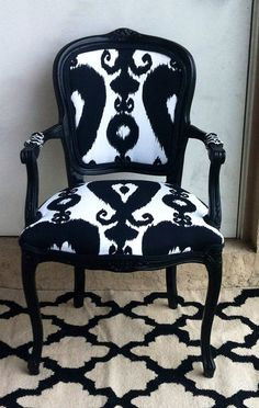 Louis XVI Arm Chair.Bergere Chair.Black Chair.White Chair.Richloom Iskander Ikat Black.Black kat Fabric.Accent Chair.Dining Chair on Etsy, £211.73