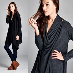 """LAST ONE """"Coy Mistress"""" One Button Draped Cardigan Gorgeous cardigan that you drape across your shoulders and button. Also can be worn as an open cardigan. Available in black, charcoal and heather grey. This listing is for the BLACK. Brand new with tags. Bare Anthology Jackets & Coats"""
