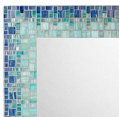 MIRROR DESCRIPTION This mosaic mirror is part of Opus Mosaics Classic Collection and will coordinate beautifully with coastal or beach themed home decor. The mirror frame itself features high quality three piece construction and is decorated with metallic Mirror Mosaic, Diy Mirror, Glass Mosaic Tiles, Mosaic Art, Wall Mirror, Coastal Mirrors, Home Decor Mirrors, Handmade Mirrors, Blue Mosaic