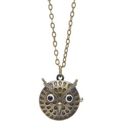 ZAD Antique Gold Owl Pocket Watch Pendant Necklace (17 CAD) ❤ liked on Polyvore featuring jewelry, necklaces, owl pendant necklace, owl pocket watch, antique gold jewelry, chain pendants and owl jewelry