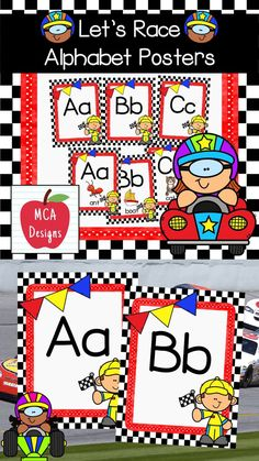 My Let's Race Alphabet Posters feature both capital and lower case letters accented with bright colors and racing themed graphics :) The following alphabet posters are included with this set: posters with letter coordinating images posters without images #teacherspayteachers #tpt #backtoschool #alphabet First Day Of School Activities, School Resources, Teaching Resources, Primary Resources, Classroom Resources, Teaching Ideas, Alphabet Posters, Alphabet Worksheets, First Year Teachers