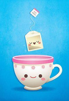 Kawaii Tea Time by Jerrod Maruyama, via Flickr- this guys art is AMAZING!