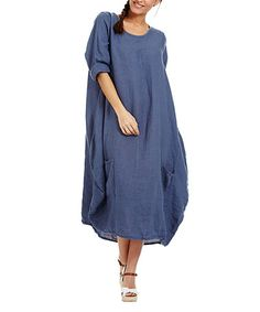 Look at this #zulilyfind! Faded Blue Oversize Linen Scoop Neck Dress #zulilyfinds