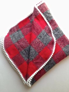 Heather Grey and Red Flannel CHRISTMAS Swaddle Blanket / Flannel Swaddle Blanket / Flannel Blanket / Gray Blanket / Newborn Blanket ket Baby Swaddle, Swaddle Blanket, Baby Bibs, Baby Blankets, Flannel Blanket, Red Flannel, Pom Pom Trim, Pom Poms, Crib Decoration