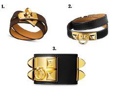 1. Hermes Kelly Double Bracelet, brown leather golden locker, 2. black Hermes Rivale bracelet gold, 3. black Collier de Chien from Hermes