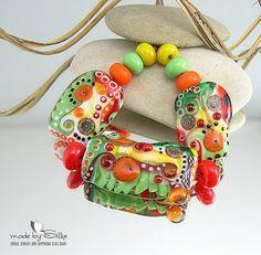 Handmade lampwork beads -- free-formed -- F r e s h   A n d  F r u i t y   -- SRA -- glass set -- made by Silke Buechler via Etsy