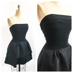b6994d497c Tadashi black party dress with bandage strapless top and layered poufy  skirt. Size XS