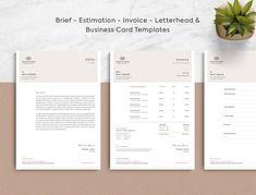 Invoice Estimate Business Card Brief Letterhead Corporate Stationary, Corporate Identity, Brand Identity, Printable Invoice, Invoice Template, Templates, Letterhead Business, Business Cards, Describe Yourself
