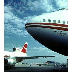 A mixed bag of TWA aircraft in STL. 1991?