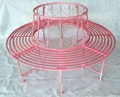 Lovely Details zu Gartenbank Rundbank Baumbank Bank aus Metall Pink